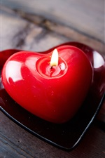 Preview iPhone wallpaper Red love heart candle, fire