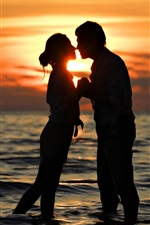 Preview iPhone wallpaper Romantic time, lovers, kiss, sea, sunset