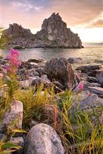 Rússia, Baikal, lago, pedras, montanhas, flores, nuvens, pôr do sol