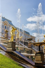 Russia, Saint Petersburg, Peterhof Palace, fountains, summer