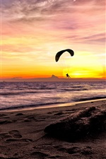 Preview iPhone wallpaper Sea, paraglider, sunset, beach