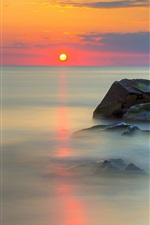 Preview iPhone wallpaper Sea, stones, red sky, water reflection, clouds, sunrise
