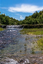 Serbia nature landscape, waterfall, stream, trees, summer