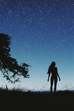 Preview iPhone wallpaper Silhouette, night, girl, tree, sky, stars