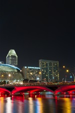 Singapore city night, bridge, lights, promenade, buildings