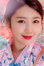 Preview iPhone wallpaper Smiling Japanese girl, kimono, paper umbrella