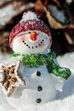 Preview iPhone wallpaper Snowman, New Year theme, winter, snow