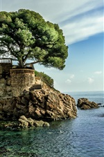Preview iPhone wallpaper Spain, sea, house, tree, blue sky