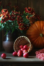 Preview iPhone wallpaper Still life, flowers, pumpkin, apples, onion, berries, basket