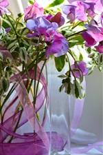 Preview iPhone wallpaper Still life, vase, purple flowers, petals
