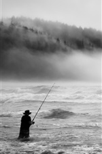 Storm, sea, fog, waves, fisherman