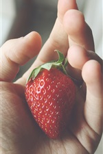 Preview iPhone wallpaper Strawberry close-up, hand, palm