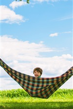 Preview iPhone wallpaper Summer, trees, hammock, happy child boy