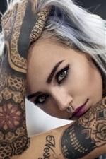 Tattoo girl, face, look, hand