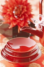 Preview iPhone wallpaper Tea cups, teapot, red, China culture