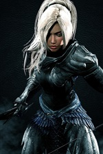 Preview iPhone wallpaper The Elder Scrolls V: Skyrim, warrior, girl, sword, bow