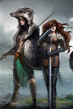Preview iPhone wallpaper Three girls, warrior, weapons, fantasy, art picture