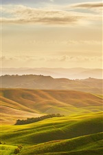 Preview iPhone wallpaper Toscana beautiful nature landscape, meadows, clouds, sunrise, Italy