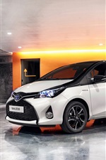 Toyota Yaris white car side view