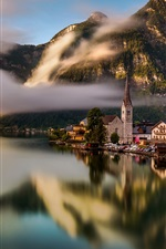 Preview iPhone wallpaper Travel to Hallstatt, Austria, lake, water reflection, houses, Alps, fog