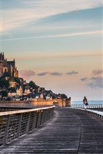 Preview iPhone wallpaper Travel to Normandy, Mont-Saint-Michel, road, bridge, monastery