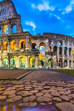 Preview iPhone wallpaper Travel to Rome, Colosseum, ruins, dusk, clouds, lights, Italy