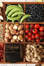 Preview iPhone wallpaper Vegetables, pepper, peas, mushrooms, chestnuts, goji