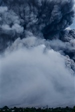 Preview iPhone wallpaper Volcano eruption, smoke, nature power