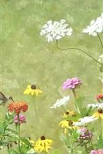 Aquarela, pintura, flores, beija-flor, primavera