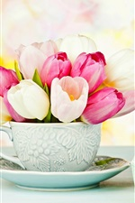 White and pink tulips, cup, gifts