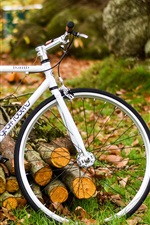 Preview iPhone wallpaper White bicycle, autumn, nature