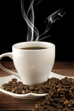 Preview iPhone wallpaper White cup, drink, hot coffee, saucer, steam, coffee beans