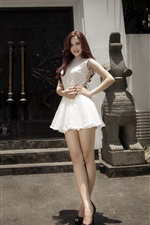 Preview iPhone wallpaper White skirt Asian girl, legs, sexy