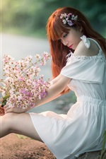 Preview iPhone wallpaper White skirt Asian girl sit at roadside, look at flowers