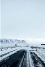 Preview iPhone wallpaper Winter, road, highway, snow, fog