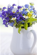 Preview iPhone wallpaper Wood table, flowers, vase, iris