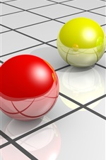 Preview iPhone wallpaper 3D balls, red yellow and green