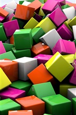 Preview iPhone wallpaper 3D cubes, colorful colors