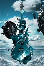 Preview iPhone wallpaper 3D guitar, egg, flight, coast, sea