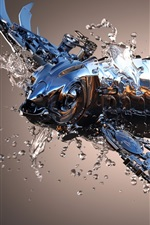 Preview iPhone wallpaper 3D metal fish