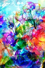 Preview iPhone wallpaper Abstract roses, flowers, colorful