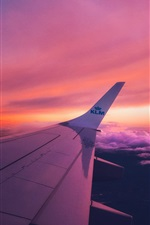Preview iPhone wallpaper Aircraft wing, sunset, clouds