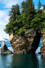 Preview iPhone wallpaper Alaska, Kenai Fjords National Park, mountains, trees, stones, water