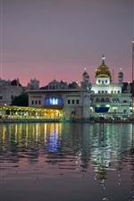 Amritsar, índia, cidade, noite, templo, luzes, água