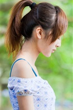 Preview iPhone wallpaper Asian girl side view, summer dress