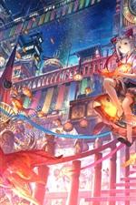 Beautiful anime girl sit on fish lamp, town, night