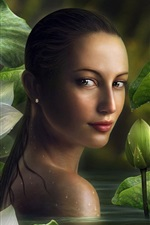 Preview iPhone wallpaper Beautiful fantasy girl in pond look back, lotus