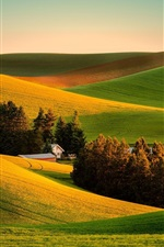 Preview iPhone wallpaper Beautiful farmland scenery, fields, trees, houses