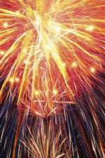 Preview iPhone wallpaper Beautiful fireworks, shine light lines