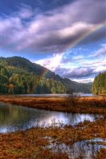 Preview iPhone wallpaper Beautiful nature landscape after rain, rainbow, trees, lake, autumn